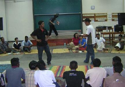 Role-play at Ruhuna University training, Galle, Sri Lanka, Dec. 2005